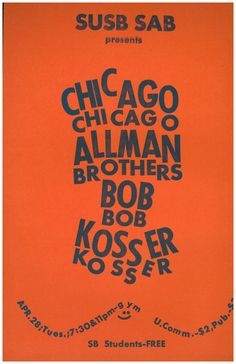 Poster promoting concert by Chicago, Allman Brothers, Bob Kosser (credit: University Archives, Stony Brook University).