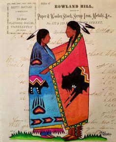 """Native Love "" Ledger painting Native American Paintings, Native American Crafts, Native American Artists, American Indian Art, Native American History, Native American Indians, Pow Wow, Native Indian, Native Art"