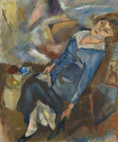 Hermine David mettant son soulier, 1918. Jules Pascin. Oil on canvas.