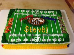 50th birtday cake football | Football or Super Bowl birthday party / Super Bowl/50th birthday cake