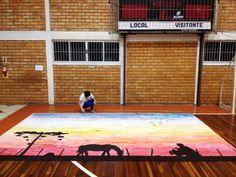 Pintura com tinta guache em papel pardo, cartaz de comemoração: Semana Farroupilha.