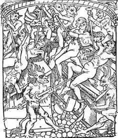 This woodcut shows grotesque demons making cheeky nuisances of themselves in Hell