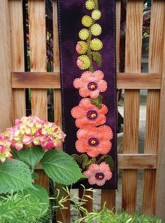 Hollyhock Wool Applique Bell Pull