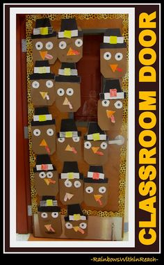 Classroom Door with Turkeys via RainbowsWithinReach (dozens of decorated doors!)