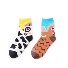 1 Pair Soft Socks Blue Eye Cotton Socks Creative Colorful Striped Dot Pattern Jacquard Art Casual Socks For Men 19cm Easy To Use Underwear & Sleepwears
