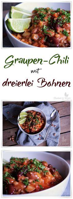Graupen Chili mit dreierlei Bohnen vegan Rezept