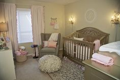 This pink nursery is so glam, but without being overdone! The flower ottoman pouf and @Suzan Hamilton Decor crib are everything!! #nursery #glam #babygirl