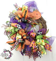 ... Mesh HALLOWEEN Ribbon Wreath Purple Lime Back Orange Glitter Pumpkins