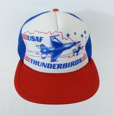 ca1dda3fcf7e9 Vintage USAF Thunderbirds Snapback Trucker Mesh Hat Red White Blue Foam Cap