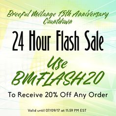 24 HOUR FLASH SALE - Use BMFLASH20 to receive 20% off any order of $0.99 or more -- Valid on 07/09/17 from 12:00 am to 11:59 pm EST  Use BREEFULTURNS15 to receive 15% off any order of $0.99 or more -- Yes banners are included ^_^ -- Valid until from 06/29/17 until 07/29/17 at 11:59 pm EST  Breeful Melange + Family is a design shop specializing in customized products including invitations, die-cuts products, event decorations, tee-shirts and other printable items. We also specialize in…