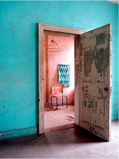 Turquoise wall.