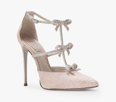 Rene Caovilla SATIN AND RHINESTONE SANDALS - Shoes Post