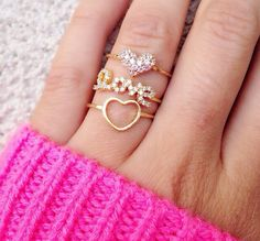 Cute stack love rings
