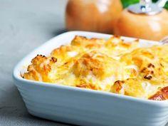 RECETTE: Gratin de chou-fleur et fruits de mer Soup Starter, Bean Chilli, Cauliflower Cheese, Quorn, Cooking Recipes, Healthy Recipes, Fodmap Recipes, Fish Recipes, Tapas