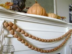 Fall Mantel with Walnut Garland   Hymns and Verses