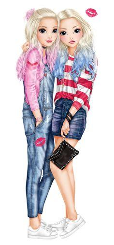 Cute Best Friend Drawings, Girly Drawings, Drawings Of Friends, Bff Images, Bff Pictures, Cute Girl Drawing, Cartoon Girl Drawing, Black Girl Art, Art Girl