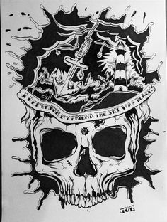 Dear old sailor, I remember the day that a lot of anchors rained down  from the black sky....    #illustration #skull #ink #tattoo #anchors #black ##sailor #design #t shirt