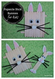 Popsicle Stick Bunnies For Kids is an easy Easter craft for toddlers or kids of any age.