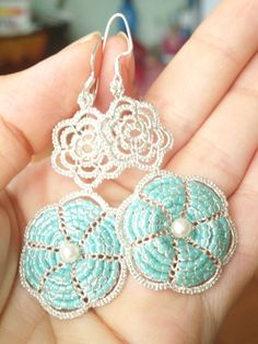 Tatted Lace Jewelry Silver and Turquoise blue by ElenaRakovska