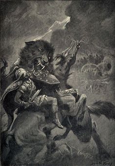 FENRIR son of Loki a monstrous wolf in Norse mythology, is foretold to devour Odin in the battle of Ragnarok.