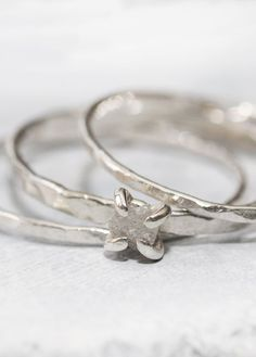 Natural Diamond Silver Ring Set