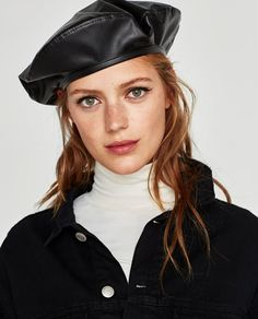 a211b67c64965 Image 5 of FAUX LEATHER BERET from Zara Zara Looks