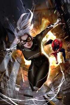 Spiderman Black Cat, Black Cat Marvel, Black Cat Comics, Spiderman Marvel, Marvel Comic Universe, Spider Verse, Cat Drawing, Amazing Spider, Marvel Characters