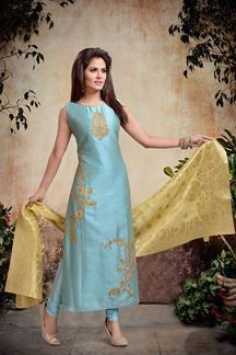 Wear a glitzy appeal in this blue designer suit featuring zari embroidery all over in glorious patterns leaving the rest plain in contrasting shine! This suit is accompanied by matching leggings & contrasting yellow dupatta. Salwar Designs, Kurta Designs Women, Kurti Designs Party Wear, Pakistani Dresses, Indian Dresses, Indian Outfits, Designer Punjabi Suits, Indian Designer Wear, Anarkali Dress Online Shopping