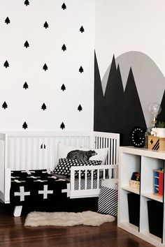 Trees Wall Decal Set - Pine Trees Woodland Decor - Mountains Decor - Boy Bedroom Nursery Ideas