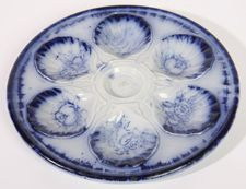 EARLY FLOW BLUE OYSTER PLATE