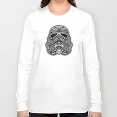 Aztec Cyborg Helmet black and white pencils sketch Long Sleeve T-shirt #starwars #aztec #darthvader #starlord #troopers #obiwanstatue