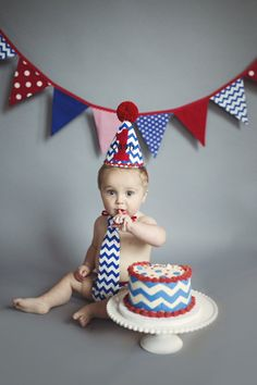 Items Similar To Blue And Red Boy Cake Smash Outfit Royal White Chevron Birthday Party Set On Etsy