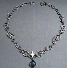 Sterling Silver Filigree Necklace with Moss Agate - Wrought Iron Architecturally Inspired Series - Jane Font