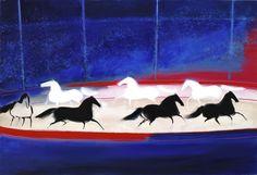 OIL ON CANVAS / CAVALCADE DANS LE CIRQUE (1989) by ANDRÉ BRASILIER