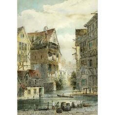 Antique Watercolor of a Town Scene by Lennard Lewis