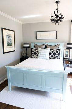 light gray, light blue, and dark accents. #bedroom #DIY