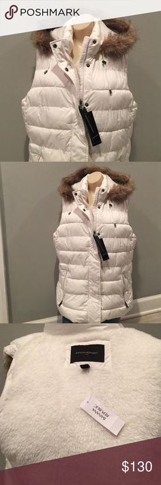 NEW Banana Republic Hooded Vest Sz L NWT quilted Winter Vest. Detachable Hood. Zip & snap close. Imitation fur. Perfect condition.  Down style. Very soft & comfortable.  Excellent quality Banana Republic Jackets & Coats Vests