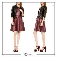 Casaqueto | Referência: 1019. Vestido Midi Manga Curta | Referência: 1011.  #couro #leather #weloveleather #giorlamodaemcouro
