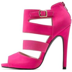 Charlotte Russe Hot Pink Qupid Cut-Out Caged Peep Toe Heels by Qupid... ($39) ❤ liked on Polyvore featuring shoes, sandals, heels, hot pink, stiletto sandals, caged sandals, hot pink sandals, heels stilettos and stiletto heel sandals