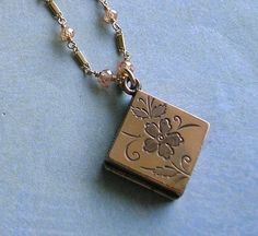Antique Victorian Locket Necklace With Etched by DarlingJewels