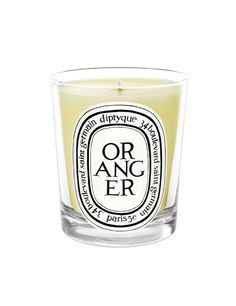 Oranger candle Diptyque.  Notes: orange.  Deliciously tangy and slightly spicy, a concentration of the whole tree, including the bark, leaf and zest.  Made in France.