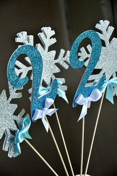 Snowflake & Age Wands are perfect for adding a little sparkle and personalization to your Frozen Inspired Party, Ice Princess Party or Winter Wonderland Party. They will make your little one want to dance and play. They are also perfect for creating a sparkly snowflake centerpiece!