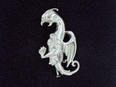 "Masriera sterling silver ""dragon""  brooch"