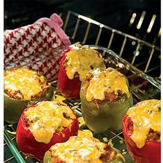 MAIN DISH - stuffed bell peppers The grownups loved em, and the kids loved the insides hehe. Either way, these bad boys got eaten up!