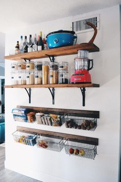 diy shelves easy kitchen upgrade diy open shelves baskets in the kitchen pantry Pantry Shelving, Open Shelving, Shelving Ideas, Diy Interior, Kitchen Interior, Life Kitchen, Kitchen Pantry, Shelves For Kitchen, Kitchen Wall Storage