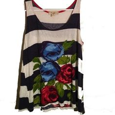 Striped Rose Tank Top No stains or tears Forever 21 Tops Tank Tops