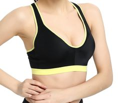 753bc2e9d5 Women s Underwire Sports Bra Racerback Yoga Running Lightly Padded V-Neck  Gym Vest Bra - CT12N4OFDIA