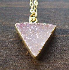SALE 25% OFF:Peach Druzy Triangle Necklace  14k by friedasophie