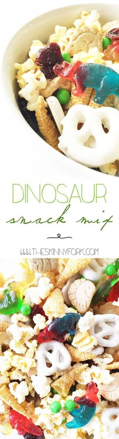 This Dinosaur Snack Mix is the perfect movie night companion for watching The Land Before Time with the kiddos or a dino themed birthday party! It's got a little bit of everything and is sure to make mouths happy - big and little alike. TheSkinnyFork.com #Pop4LandB4time #Pmedia #Ad @PopSecret @Walmart