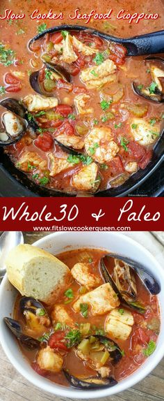 Crockpot / Slow Cooker healthy whole30 paleo - This healthy slow cooker version of a cioppino is packed with cod, scallops, mussels and shrimp. Both paleo & whole30 it's the perfect seafood pot! #saltfish #bacalao #Cristobal